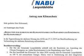 NABU Leopoldshöhe fordert Ausruf des Klimanotstands